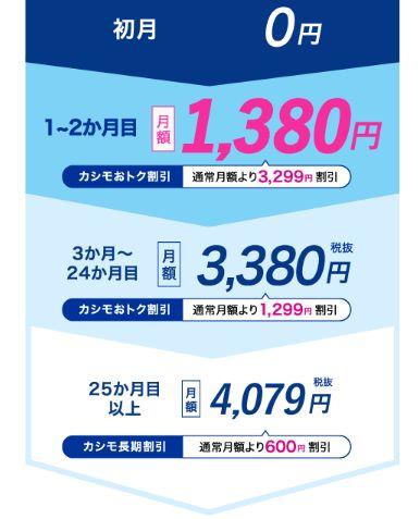 カシモWiMAXの月額料金