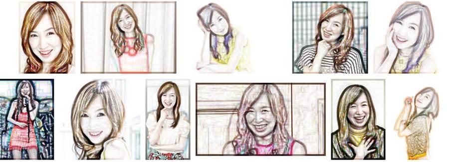 いつまでも老けない若々しい綺麗な芸能人「森口博子」の似顔絵