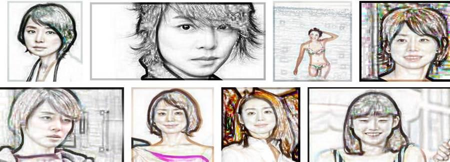 いつまでも老けない若々しい綺麗な芸能人「石田ゆり子」の似顔絵
